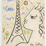BXL_Cocteau, zelfportret Eiffeltoren (pastel)