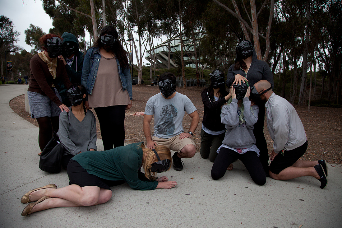 Militancy, Vulnerability, Obfuscation, tableau vivant, Performative Nanorobotics Lab, University of California, San Diego, photo by Tanner Cook (2013)